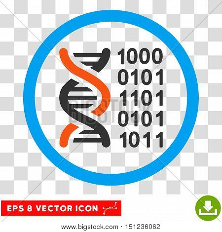Rounded Genetical Code EPS vector icon. Illustration style is flat icon symbol inside a blue circle.