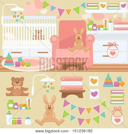 Nursery and childhood bedroom interior. Baby room with furniture bed and toy, teddy bear and rabbit. Flat style vector illustration isolated on white background