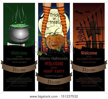 Set of Halloween night banners set with full moon, cemetery, magic cauldron and sexy witch legs in striped stockings on a background of jack-o'-lantern. Vector illustration