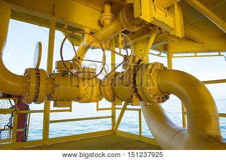 Pipeline production and control valve for oil and gas process, Pipeline construction on offshore wellhead remote platform, Energy and petroleum industry.