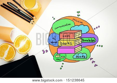 Creative colorful sketch on white office desktop with various items. Knowledge concept