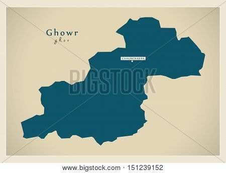 Modern Map Ghowr Afghanistan AF vector high res