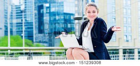 Dynamic Young Executive Working Outside