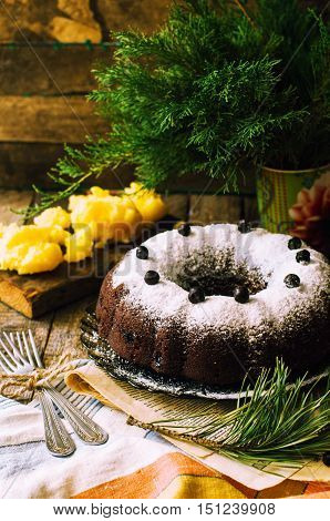 Delicious Vegan Chocolate Cake. Chocolate Cake With Marzipan And