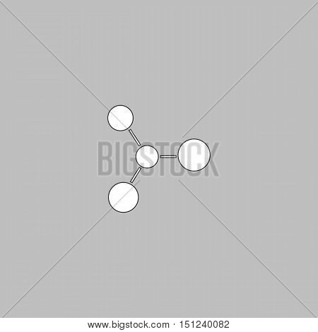 Molecule Simple line vector button. Thin line illustration icon. White outline symbol on grey background