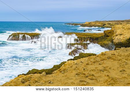 Rocky Coastline At Salinas Ecuador