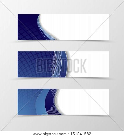 Set of banner grid design. Blue banner for header with silver lines. Design of banner in net style. Vector illustration