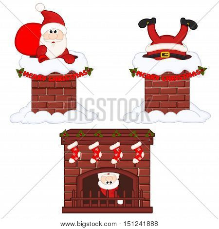 Santa Claus inside chimney and fireplace - vector illustration, eps