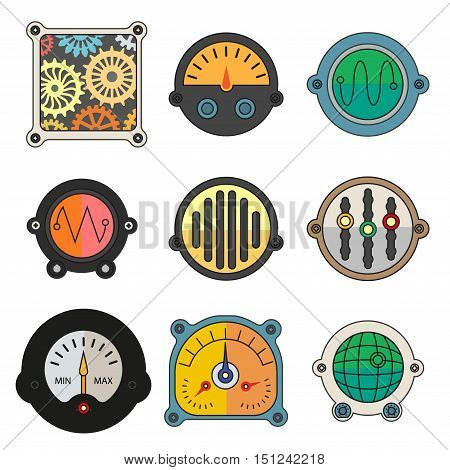 Robot technical Colorful meter icons set. Power panel, interface barometer gauge control. Flat style. Vector illustration isolated on white background.