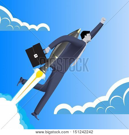 Successful startup business concept. Confident businessman in business suit with case in his hand and rocket engine on his back flies upwards at high speed. Concept of startup and quick success.