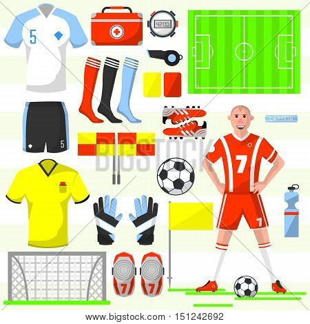 Set of football icons in flat style ball and whistle, flag and card, shirt and field, player and shoe, stopwatch. Vector illustration with various soccer symbols isolated on white
