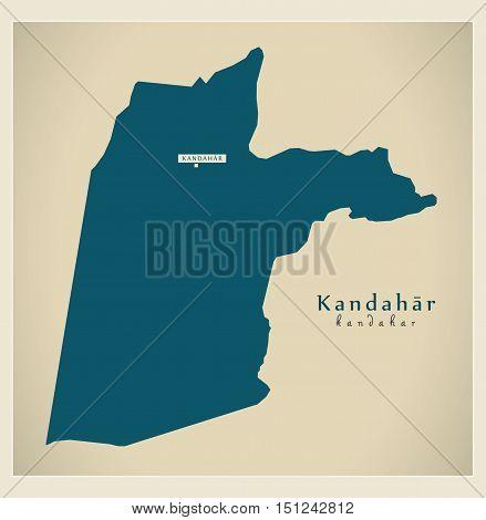Modern Map Kandahar Afghanistan AF vector high res