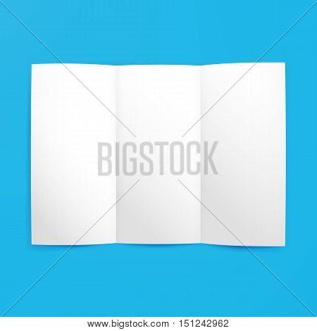 Empty Tri Fold Paper Mockup. Vector Illustration of Brand Identity Leaflet Design for Business Promotion.