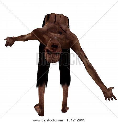 old, bald, weak zombies. In blood and cuts. His back is broken in half. 3D rendering, 3D illustration