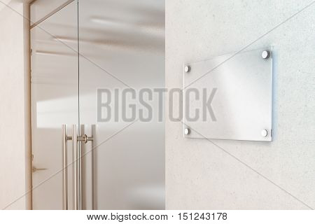 Blank transparent glass sign plate design mockup 3d rendering. Nameplate mock up on the wall near office entrance interior. Signage panel door number template. Clear printing board for logo branding.