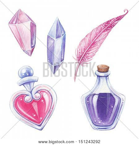 Halloween hand-drawn illustration. Magic elements set. Love potion.