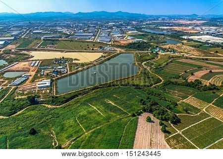 Industrial estate land development water reservoir Farm land aerial photography