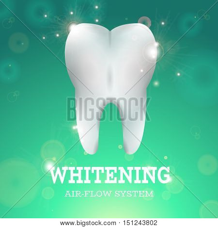 Tooth Whitening Logo Air Flow System Dentistry Vector Illustration. Medical Conception for Tooth Clinic. Healthy Tooth w Clean Enamel on Green Blur Pattern. Clean Tooth Logo for Stomatology Clinic