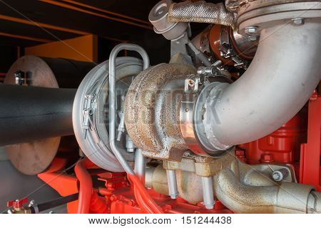 Details of big industrial diesel engine and attachments