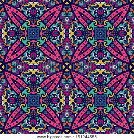 ethnic festive pattern for fabric. Abstract geometric colorful vintage seamless pattern ornamental.