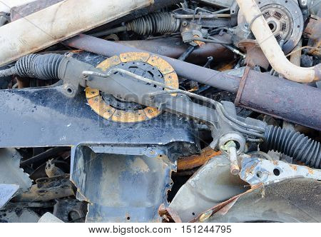 Useless worn out rusty clutch discs and other parts