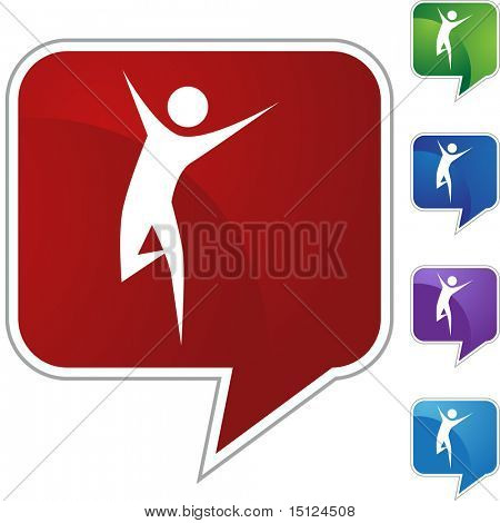 Runner stick figure isolated web icon on a background.