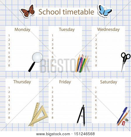 school timetable with stationery for school background: in the form notebook sheet in a cage