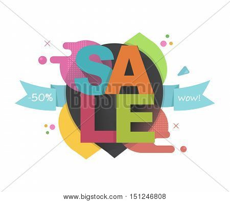 Sale poster, banner. Big sale, special offer, discounts, 50% off. clearance. Vector illustration.