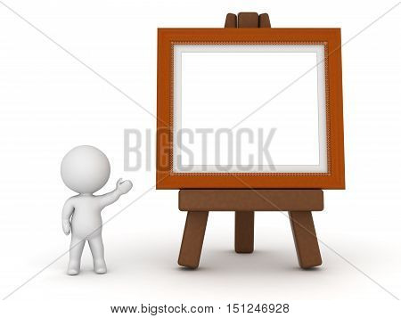 3D character showing an easel with a large painting frame. Isolated on white background.