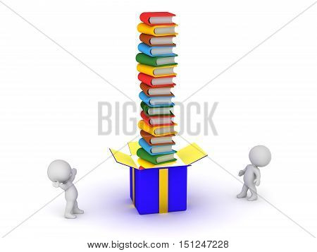 3D characters and a large gift box with a tall stack of colorful books. Isolated on white background.