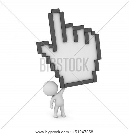Small 3D character holding up a very large click hand cursor. Isolated on white background.