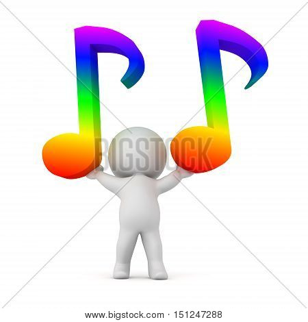 3D character holding up two colorful music notes. Isolated on white background.