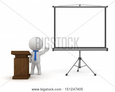3D character with a lectern and a projector screen. Isolated on white background.