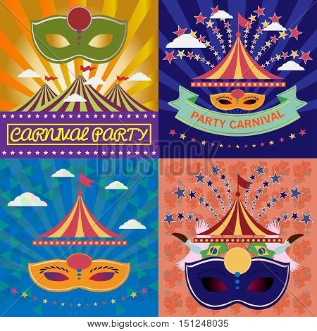 Digital vector mask sets over green and orange background with clouds, rio carnival party, toucan birds and brazilian flag, flat style