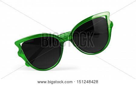 Women's green sunglasses isolated on white girlie, summer,