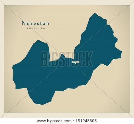 Modern Map Nurestan Afghanistan AF vector high res