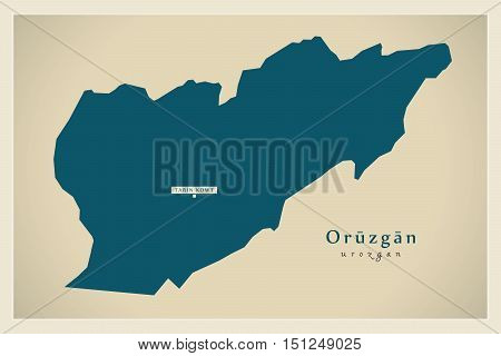 Modern Map Oruzgan Afghanistan AF vector high res