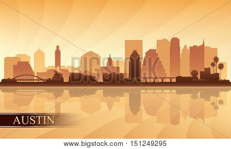 Austin city skyline silhouette background vector illustration