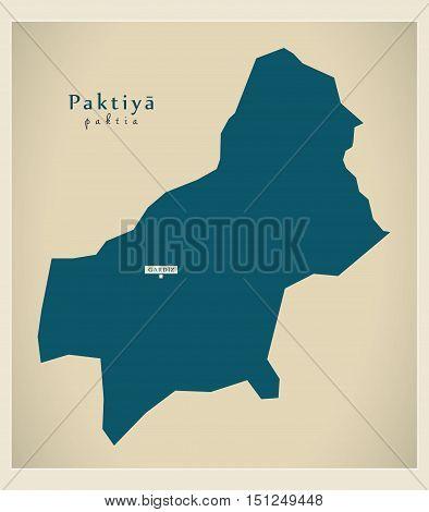 Modern Map Paktiya Afghanistan AF vector high res