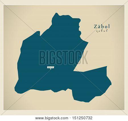 Modern Map Zabol Afghanistan AF vector high res