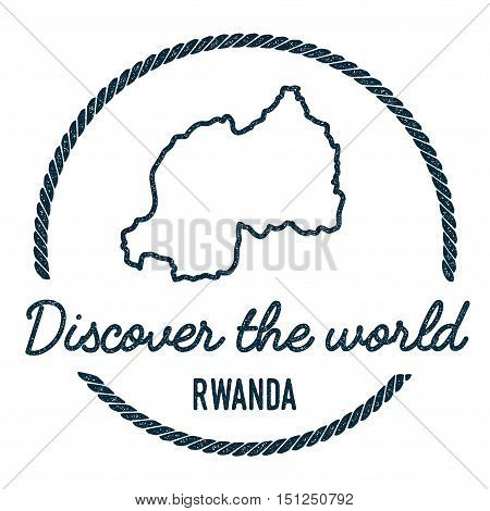 Rwanda Map Outline. Vintage Discover The World Rubber Stamp With Rwanda Map. Hipster Style Nautical