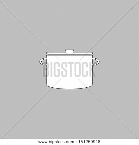 Saucepan Simple line vector button. Thin line illustration icon. White outline symbol on grey background