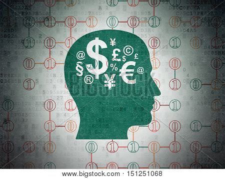 Business concept: Painted green Head With Finance Symbol icon on Digital Data Paper background with Scheme Of Binary Code