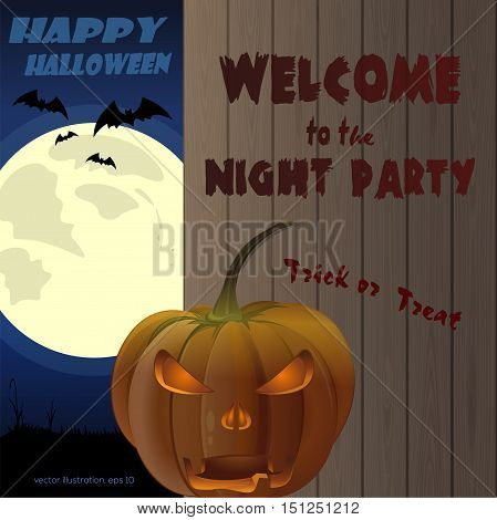 Halloween night party. Jack-o'-lantern on a background of a wooden fence and a full moon. Vector illustration