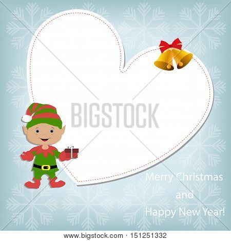 Baby white Christmas frame in the shape of a heart with an elf and bells on a blue background with snowflakes.