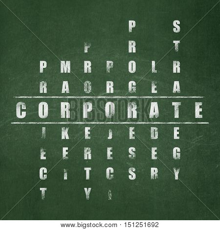Finance concept: Painted White word Corporate in solving Crossword Puzzle on School board background, School Board