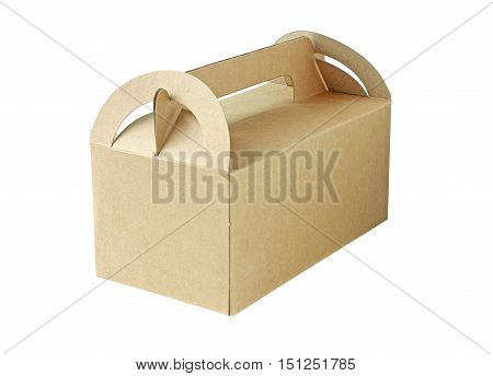 Brown Paper Box Closed isolated on white background