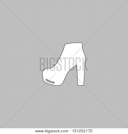 shoe Simple line vector button. Thin line illustration icon. White outline symbol on grey background