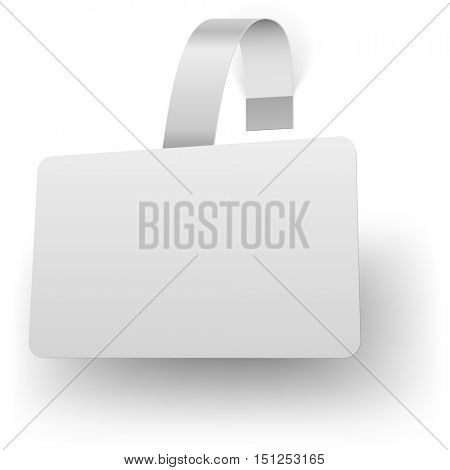 Blank white rectangular advertising wobbler with shadow vector template.