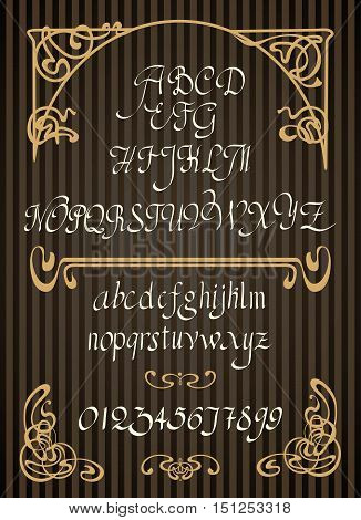 Calligraphic vector script font. Handwritten brush style modern calligraphy cursive typeface. Typography alphabet for Designs with decorative elements in the Art Nouveau style
